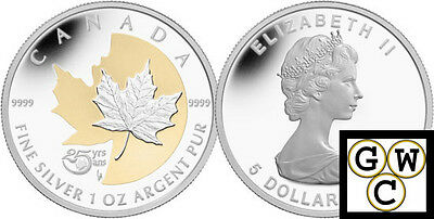 2013'25th Anniversary'Gold-Plated 1oz Silver Maple Leaf Coin.9999Fine(13142)OOAK