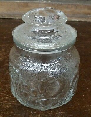 Vintage CLEAR GLASS COOKIE JAR CANISTER with LID  Embossed Fruit Design