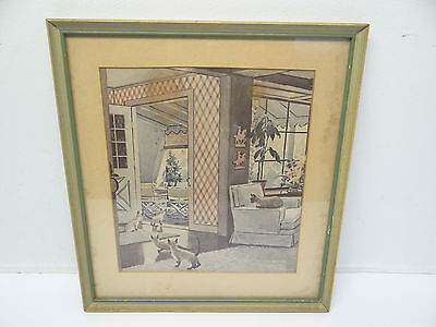 Vintage Mid-Century Old Siamese Curious Cats Framed Art Print Wall Hanging