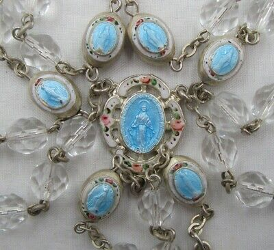 † No Longer Made Htf Vintage Sterling & Blue Guilloche Enamel Elements Rosary †