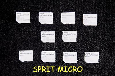 Lot of 10 - SPRINT - Used MICRO SIZE SIM CARDS - Untested - Ships FREE (A)