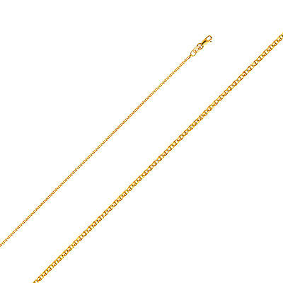 """Solid 1.4 MM 14k Yellow Gold Flat Open Wheat Chain Necklace  16""""-24"""" Lobster"""
