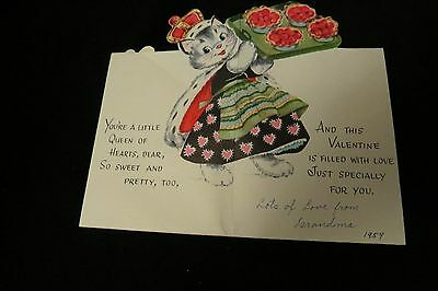 Vintage KITTEN & Baking Valentine card for Granddaughter c. 1950s by: Gibson