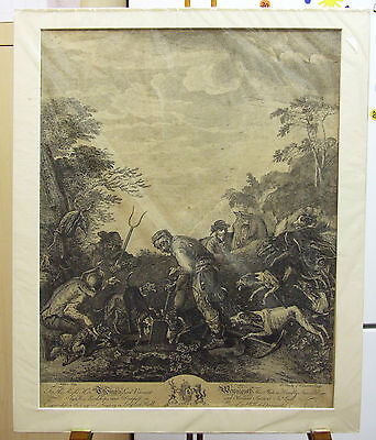 Antique 1700s Engraving ~ Hunting, Earthing Fox ~ Wootton, Truchy, Charles Canot