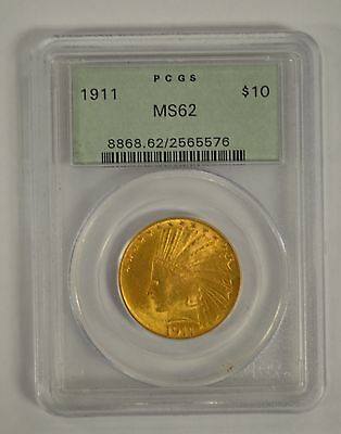 1911 $10 Indian Head US Gold Coin PCGS MS62