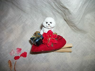 Bichon Frise Dog Tiny Miniature Christmas Holiday Clip-on ORNAMENT