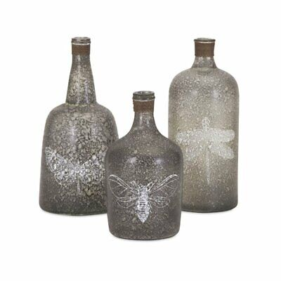 IMAX Corporation Folly 3 Piece Glass Bottle Set in Brown
