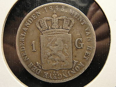 1845 Netherlands Silver Gulden Nice Coin With Pinback Mount Removed
