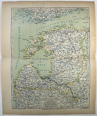 Original 1877 Map of Estonia Livonia & Courland. Esthland Livland Kurland Russia
