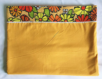 Texmade Truprest 70s Vintage Yellow Gold Floral Flower Power Twin Flat Bed Sheet