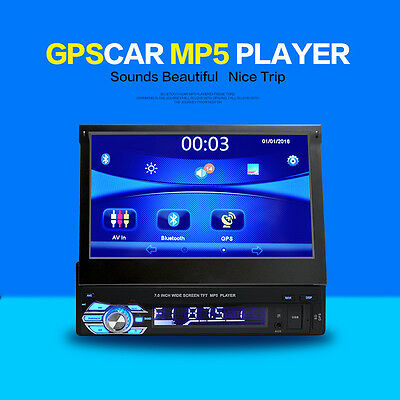 """1DIN 7"""" Car Stereo FM USB/SD MP5 Player Bluetooth/Hands Free/GPS Remote Control"""