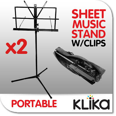 2 x NEW FOLDING ADJUSTABLE PORTABLE MUSIC SHEET STANDS IN BAGS Portable Clips
