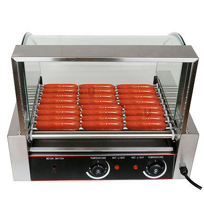 1260W Commercial 24 Hot Dog Hotdog 9 Roller Grill Cooker Machine W/ cover Store
