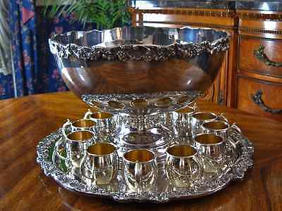 Vintage FB Rogers Silver Co 1883 Heavy Silverplate Punch Bowl with Tray