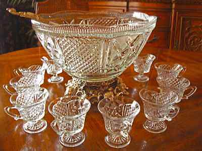 "Vintage Colony 1547 ""Silver Baroque"" 15 Piece Crystal Glass Punch Set"