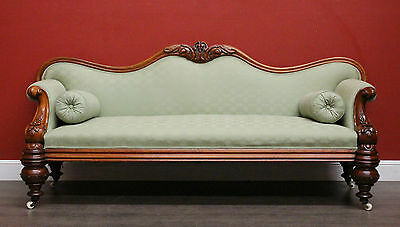 Antique Australian Cedar and Fabric Chaise Sofa Lounge Armchair Spring Seat