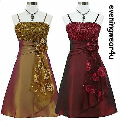 Cherlone Satin Gold/Purple Sparkle Prom Party Cocktail Evening Bridesmaid Dress