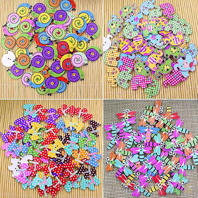 50Pcs Mixed Animal  Wooden Buttons Sewing Craft 2 Holes Scrapbooking DIY