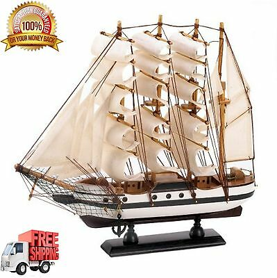 Tall Ship Model Antique Maritime Nautical Sailboat Wooden Vintage Boat Decor New