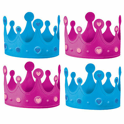 12 Boy Or Girl Baby Shower Gender Reveal Party Pink Blue Crown Hats