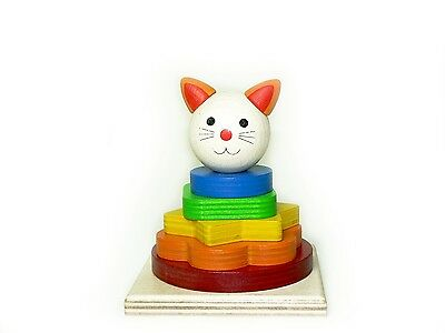 Stacking tower Cat 90 x 90 x 110 NEU Stack pyramid Plug-in tower Wooden toy