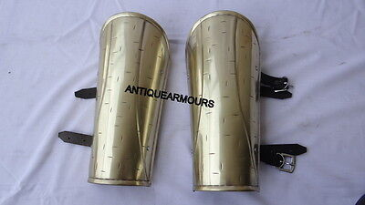 300 Movie King Greek Brass Antique Finish Arm Guard Set Greaves Collectibles