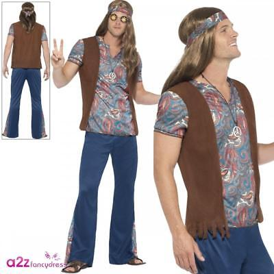 Mens Orion The Hippie Outfit Adult 60s 70s Hippy Fancy Dress Woodstock Costume