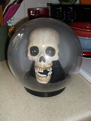 Automated Talking Skull in Globe - Moves- Talks- Red Eyes