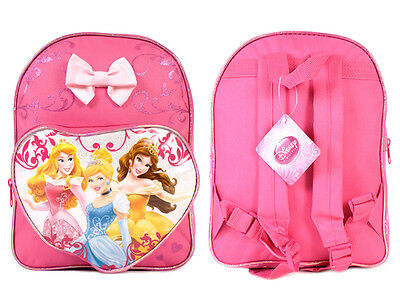 Disney Princess 3 Princesses Girls Pink BOW Backpack Bag Belle Cinderella Aurora