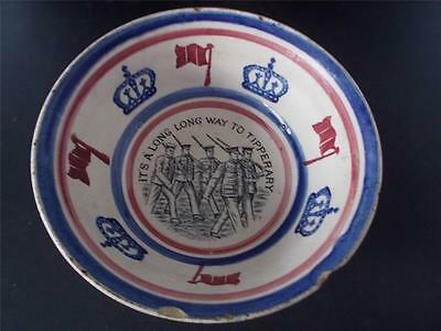 c1915 Scottish Pottery Spongeware bowl LONG WAY TO TIPPERARY Military Scotland