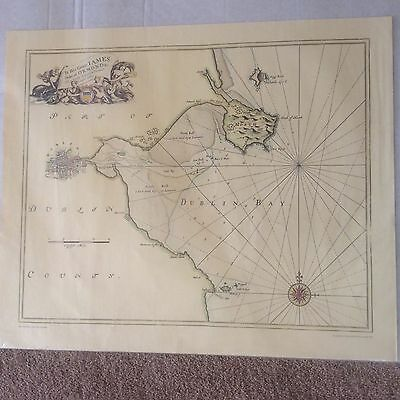Vintage reproduction Map Plan Dublin Bay Ireland Eire Admiralty Collection 1995