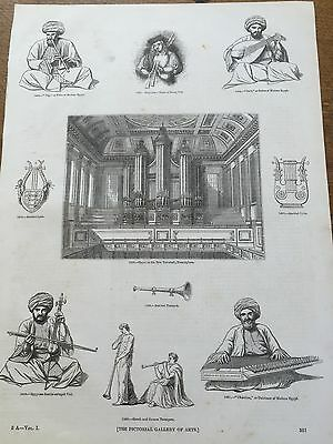 c19th Antique 1845 Steel engraving Musical String Wind Instrument Bagpipes Organ