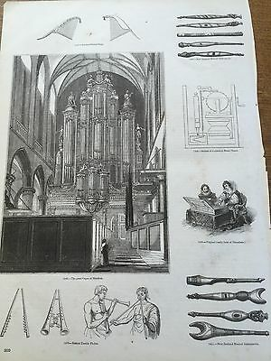 c19th Antique 1845 Steel engraving Musical Instrument & Great Organ at Haarlem