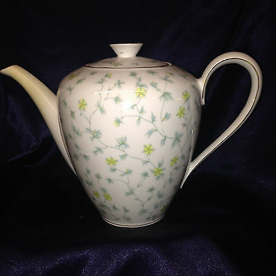 Kpm Krister Germany 640 Coffee Pot 50 Oz Yellow Flowers Green Leaves Gold Trim