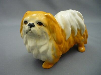 "SYLVAC England Pekingese Dog Figurine #3165 Ceramic Figure 3 1/4"" Tall Ginger"