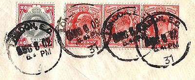 MS2280* 1902 GB KEVII 1s COVER Transatlantic Mail URUGUAY Per French Packet