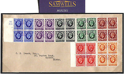 MS2281* 1935 GB KGV PHOTOGRAVURE Blocks of Four{7} CONTROL Cover Middx Harrow