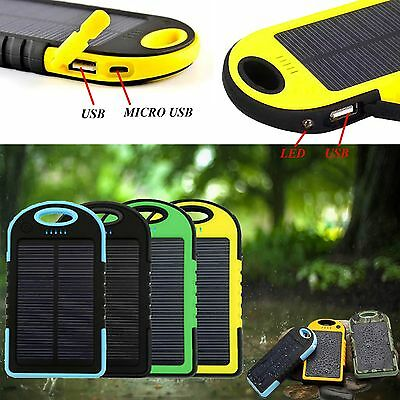 2 Usb Portable 5000Mah Waterproof Solar Charger Power Bank For Acer Liquid Z6+
