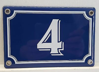 VINTAGE FRENCH BLUE ENAMEL STEEL DOOR HOUSE GATE NUMBER SIGN PLATE Signed 4