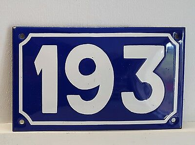 ANTIQUE STEEL ENAMEL HOUSE NUMBER SIGN Door plate plaque 193