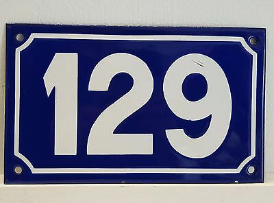 ANTIQUE STEEL ENAMEL HOUSE NUMBER SIGN Door plate plaque 129