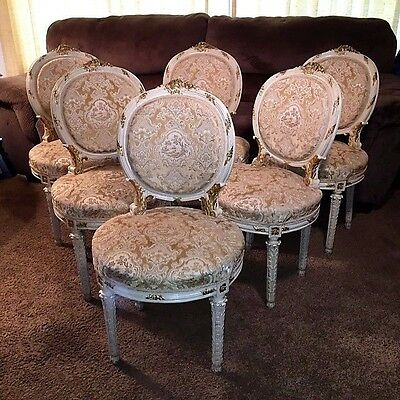 Antique Louis XIV Style White Gold Gilt Dining Chairs Upholstery Set of Six