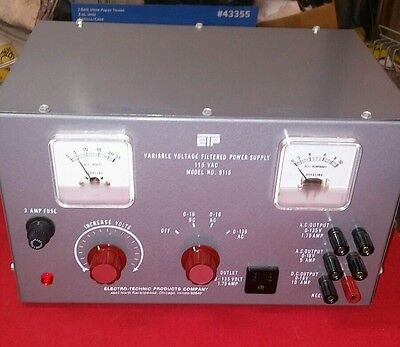 Electro-Technic Variable Voltage Power Supply Model 9115 DC AC Used