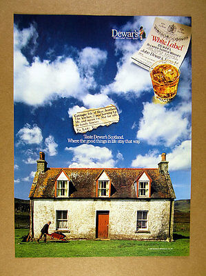 1989 Isle of Skye Cottage house scotland photo Dewar's Scotch print Ad