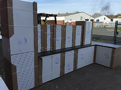 cancelled run of kitchen units ,gloss white laqured door