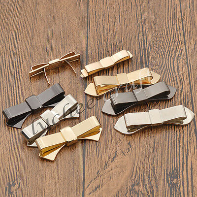 2 Pcs Women Bow Knot Shoes Clips DIY Charm Decor Accessories Gold Silver Gifts