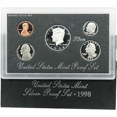 1998-S 90% Silver Proof Set United States Mint Original Government Packaging Box