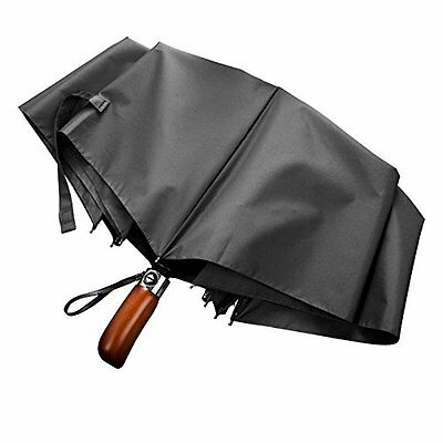 Yolococa Handmade Real Wood Handle Double Canopy Umbrella Windproof Fiberglass