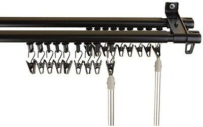 "Black Double Track Curtain Drapery Rod Track Set 28"" - 48"" Adjustable Baton Draw"