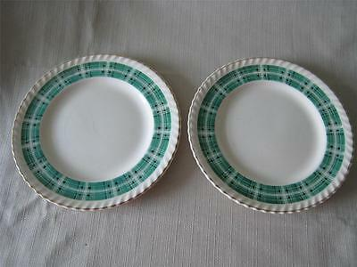 2 Johnson Bros. Old English BY GREEN PLAID BREAD PLATES Vintage 1930's